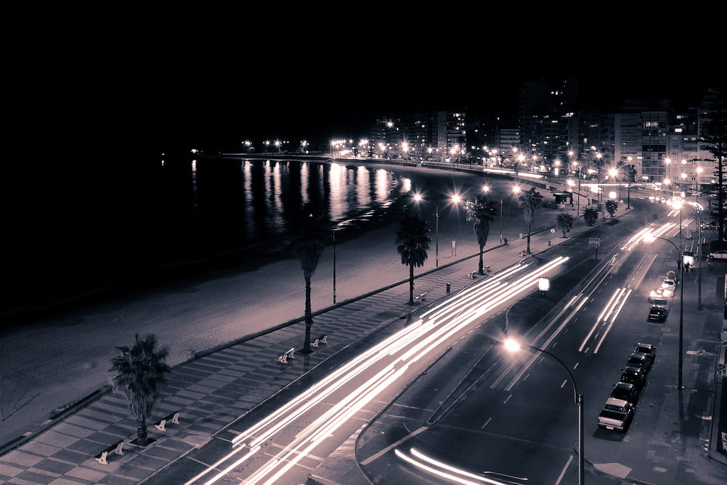 The Rambla in Montevideo by Night by Romina Campos